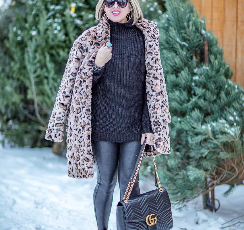 Finding the perfect leopard faux fur coat & leggings